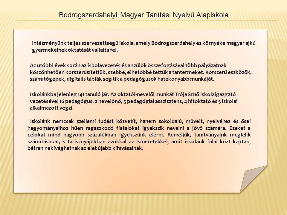 Bodrogszerdahelyi Magyar Tanítási Nyelvű Alapiskola Intézményünk teljes szervezettségű iskola, amely Bodrogszerdahely és környéke magyar ajkú gyermekeinek oktatását vállalta fel.