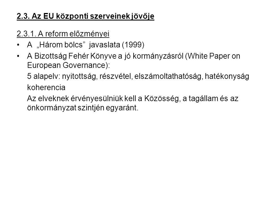 """2.3. Az EU központi szerveinek jövője 2.3.1. A reform előzményei A """"Három bölcs"""" javaslata (1999) A Bizottság Fehér Könyve a jó kormányzásról (White P"""