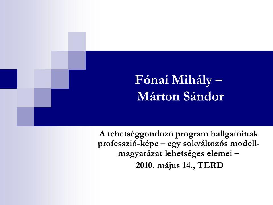 Fónai Mihály – Márton Sándor A tehetséggondozó program hallgatóinak professzió-képe – egy sokváltozós modell- magyarázat lehetséges elemei – 2010.