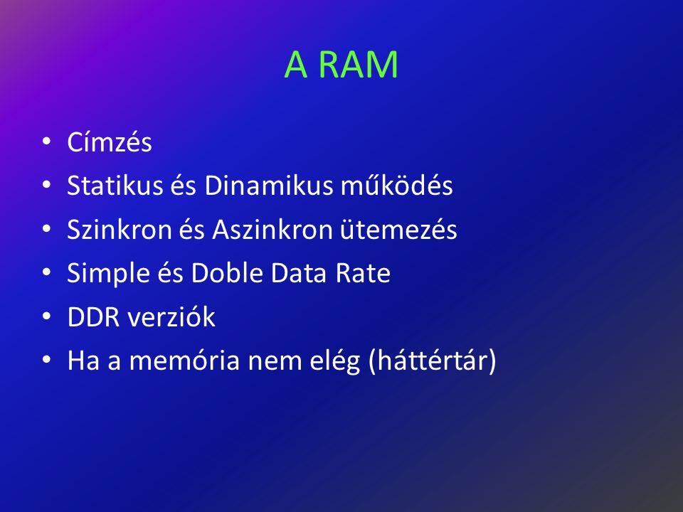 A RAM Címzés Statikus és Dinamikus működés Szinkron és Aszinkron ütemezés Simple és Doble Data Rate DDR verziók Ha a memória nem elég (háttértár)