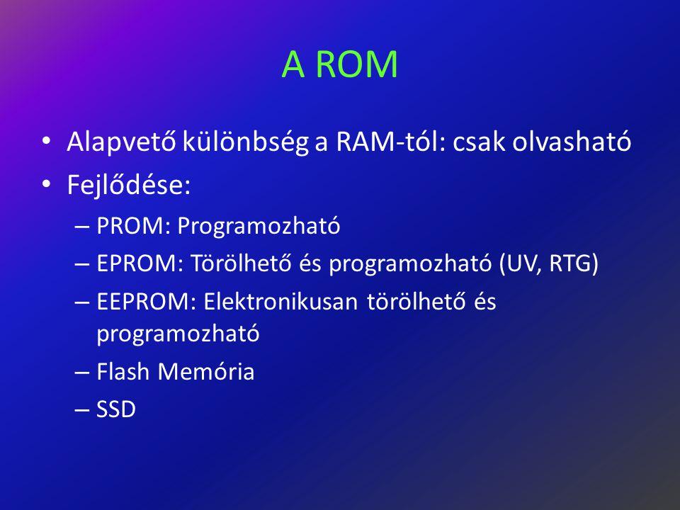 A ROM Alapvető különbség a RAM-tól: csak olvasható Fejlődése: – PROM: Programozható – EPROM: Törölhető és programozható (UV, RTG) – EEPROM: Elektronikusan törölhető és programozható – Flash Memória – SSD