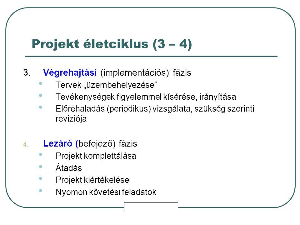 """Projekt életciklus (3 – 4) 3.Végrehajtási (implementációs) fázis Tervek """"üzembehelyezése Tevékenységek figyelemmel kísérése, irányítása Előrehaladás (periodikus) vizsgálata, szükség szerinti reviziója 4."""