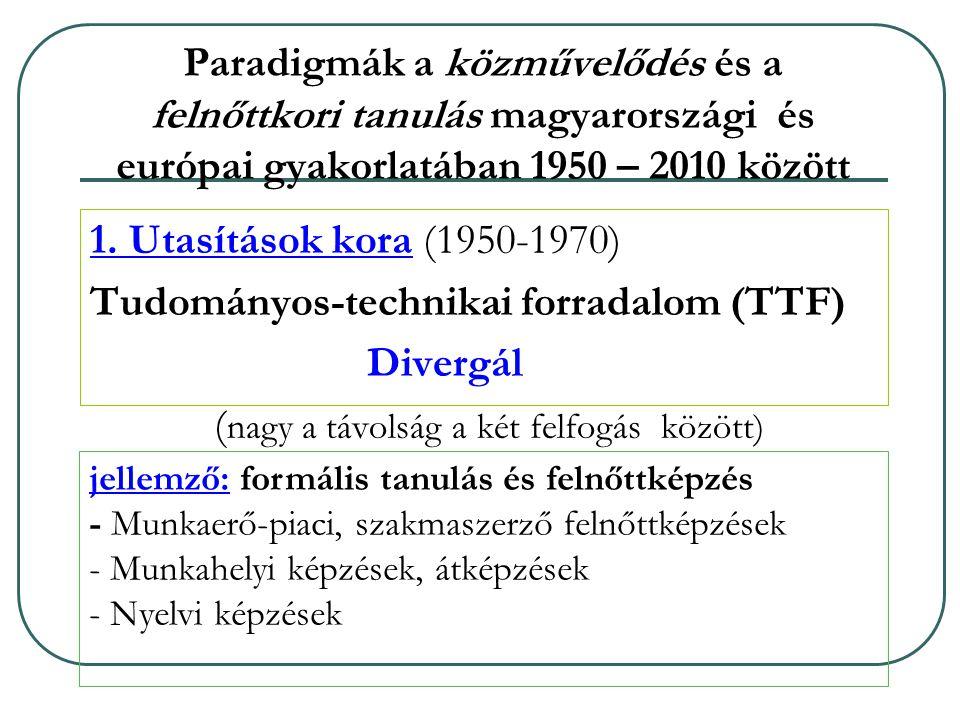 Paradigmák a közművelődés és a felnőttkori tanulás magyarországi és európai gyakorlatában 1950 – 2010 között 1.