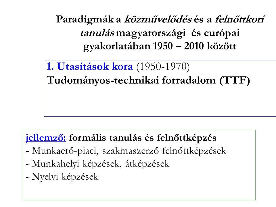 Paradigmák a közművelődés és a felnőttkori tanulás magyarországi és európai gyakorlatában 1950 – 2010 között 1. Utasítások kora (1950-1970) Tudományos