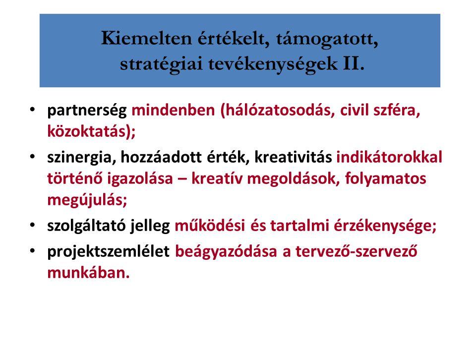 Kiemelten értékelt, támogatott, stratégiai tevékenységek II. partnerség mindenben (hálózatosodás, civil szféra, közoktatás); szinergia, hozzáadott ért