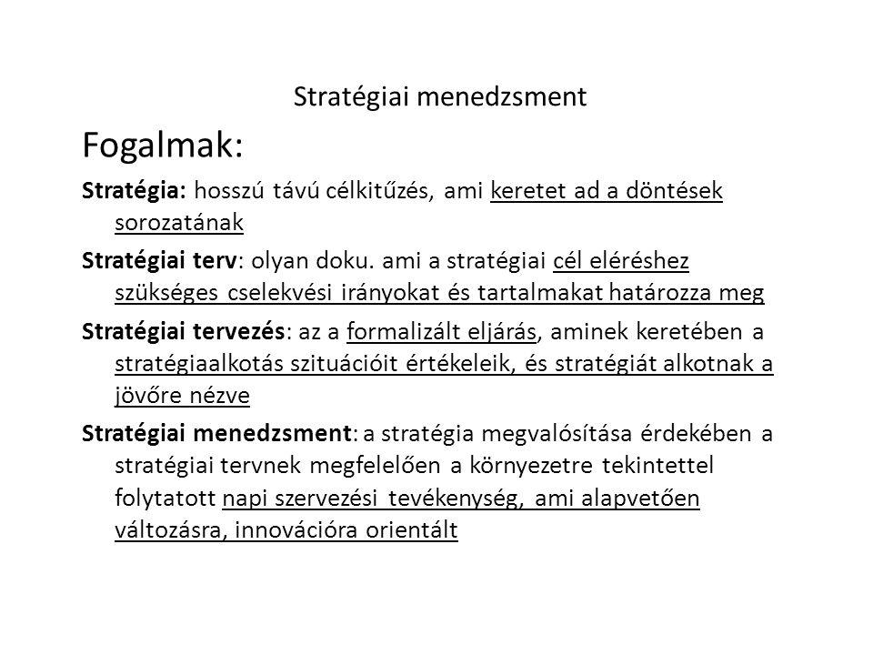 Stratégiai menedzsment Fogalmak: Stratégia: hosszú távú célkitűzés, ami keretet ad a döntések sorozatának Stratégiai terv: olyan doku.