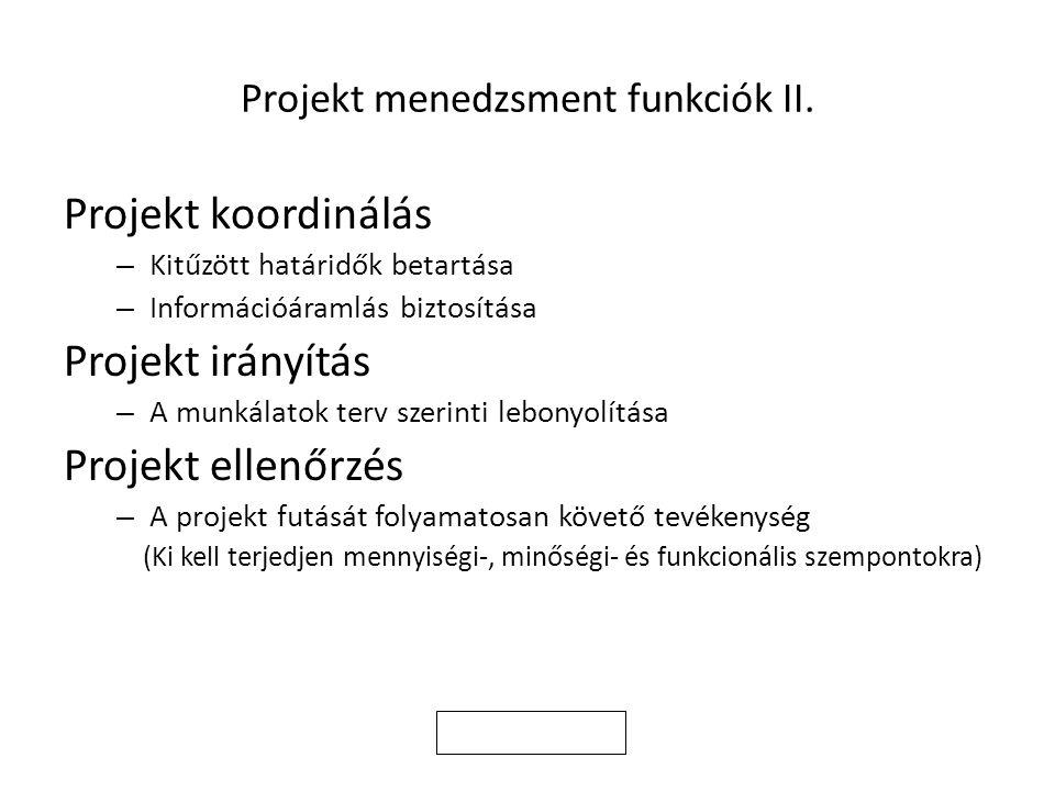 Projekt menedzsment funkciók II. Projekt koordinálás – Kitűzött határidők betartása – Információáramlás biztosítása Projekt irányítás – A munkálatok t