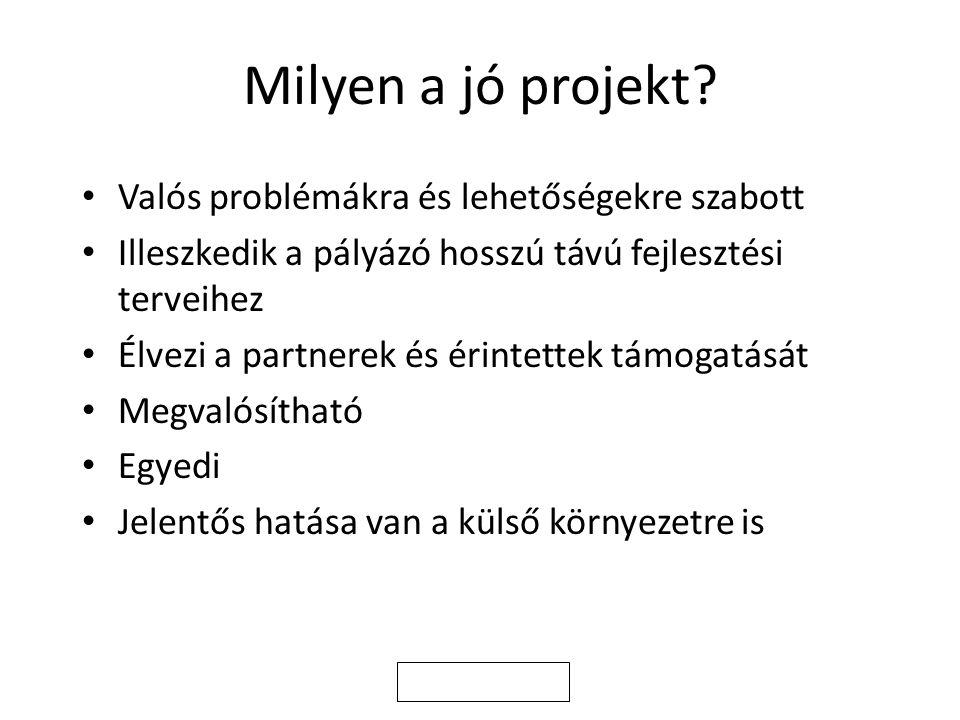 Milyen a jó projekt.