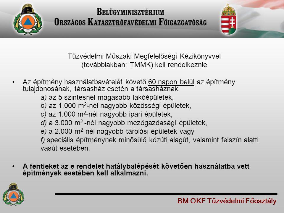 A TMMK-ban az építmény tűzvédelmi helyzetét érintő változásokat át kell vezetni, fel kell tüntetni a változást követő 30 napon belül.