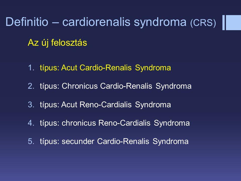 Definitio – cardiorenalis syndroma (CRS) Az új felosztás 1.típus: Acut Cardio-Renalis Syndroma 2.típus: Chronicus Cardio-Renalis Syndroma 3.típus: Acu