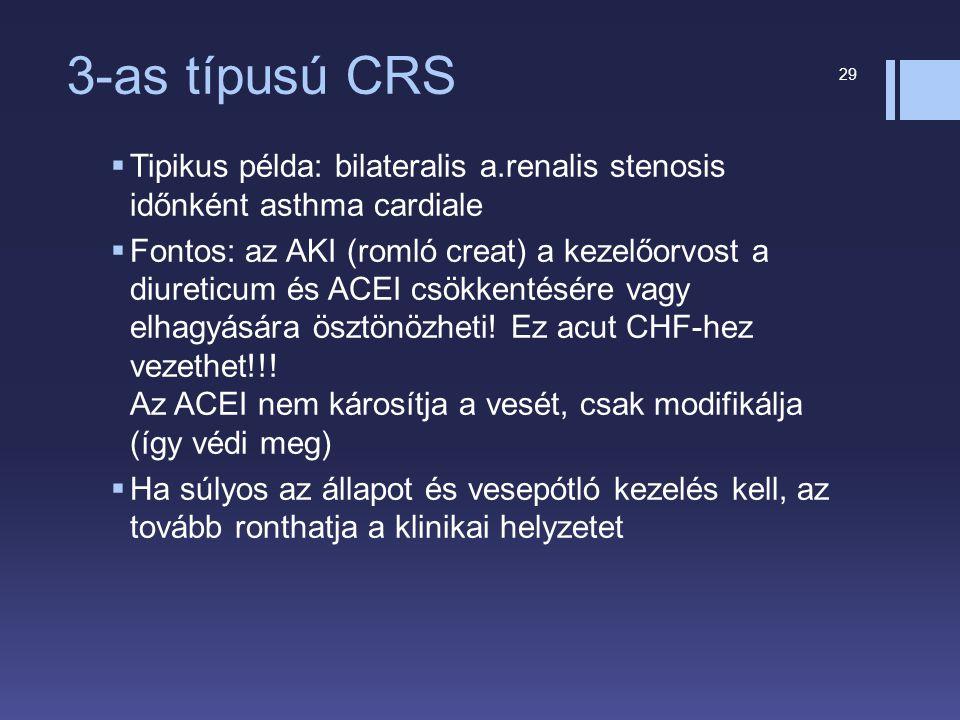 3-as típusú CRS  Tipikus példa: bilateralis a.renalis stenosis időnként asthma cardiale  Fontos: az AKI (romló creat) a kezelőorvost a diureticum és