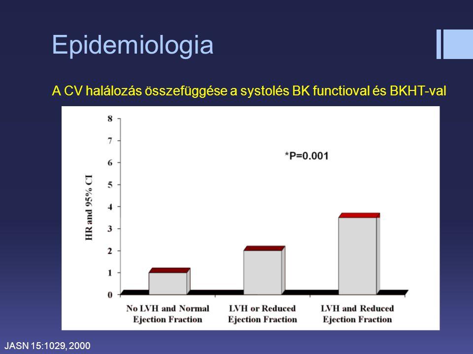 Epidemiologia JASN 15:1029, 2000 A CV halálozás összefüggése a systolés BK functioval és BKHT-val