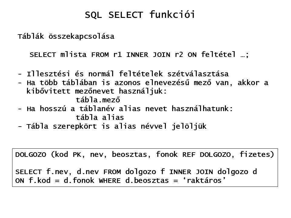 SQL SELECT funkciói Táblák összekapcsolása SELECT mlista FROM r1 INNER JOIN r2 ON feltétel …; - Illesztési és normál feltételek szétválasztása - Ha tö