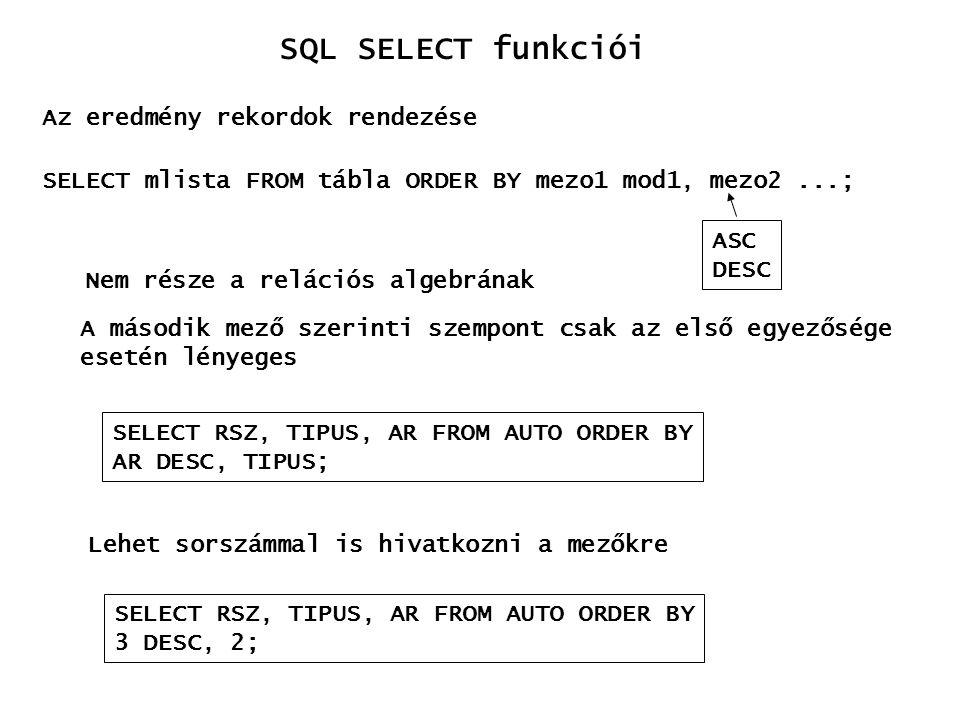 Az eredmény rekordok rendezése SELECT mlista FROM tábla ORDER BY mezo1 mod1, mezo2...; ASC DESC Nem része a relációs algebrának A második mező szerint