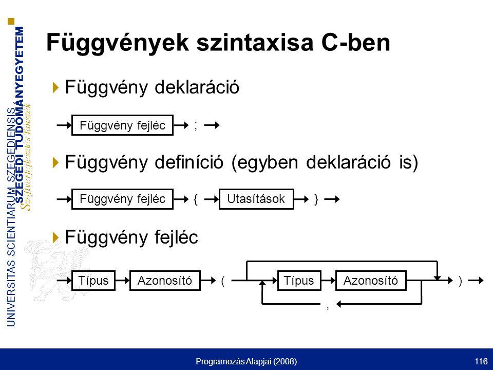 SZEGEDI TUDOMÁNYEGYETEM S zoftverfejlesztés Tanszék UNIVERSITAS SCIENTIARUM SZEGEDIENSIS Programozás Alapjai (2008)116  Függvény deklaráció  Függvény definíció (egyben deklaráció is)  Függvény fejléc Függvények szintaxisa C-ben Függvény fejléc ; Azonosító Típus () Azonosító Típus, Függvény fejléc { Utasítások }