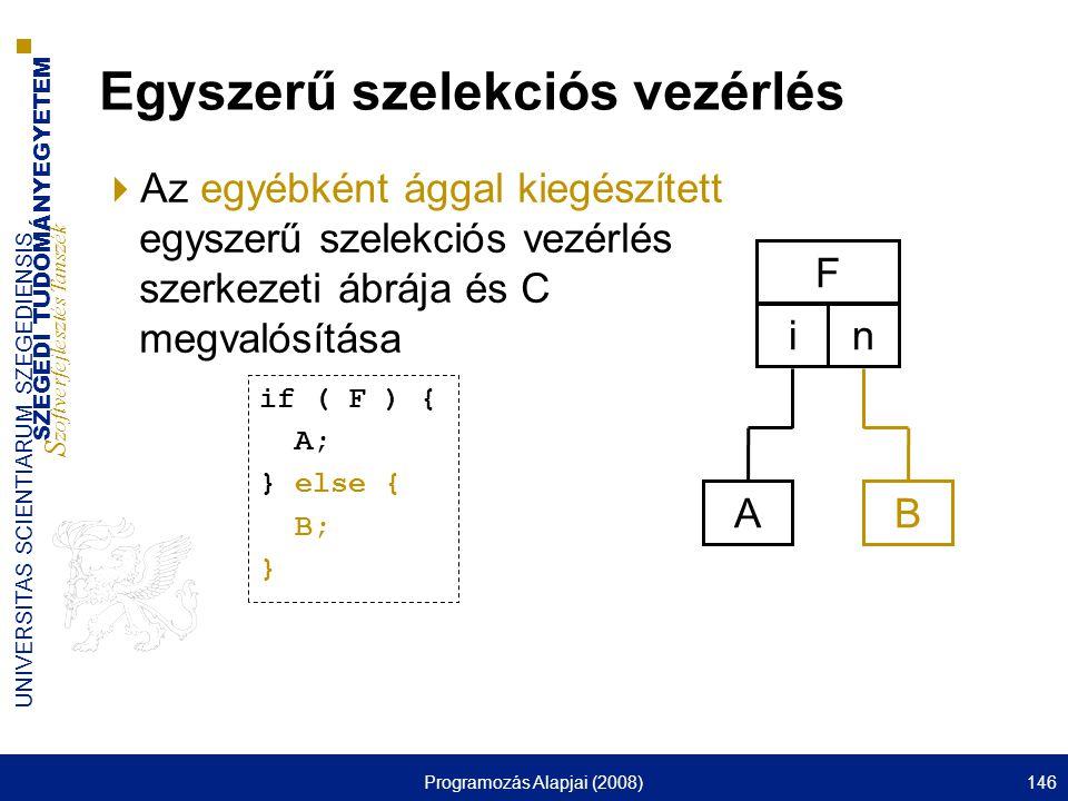 SZEGEDI TUDOMÁNYEGYETEM S zoftverfejlesztés Tanszék UNIVERSITAS SCIENTIARUM SZEGEDIENSIS Programozás Alapjai (2008)146 Egyszerű szelekciós vezérlés  Az egyébként ággal kiegészített egyszerű szelekciós vezérlés szerkezeti ábrája és C megvalósítása F i A n B if ( F ) { A; } else { B; }
