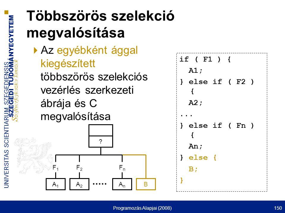 SZEGEDI TUDOMÁNYEGYETEM S zoftverfejlesztés Tanszék UNIVERSITAS SCIENTIARUM SZEGEDIENSIS Programozás Alapjai (2008)150 Többszörös szelekció megvalósítása  Az egyébként ággal kiegészített többszörös szelekciós vezérlés szerkezeti ábrája és C megvalósítása if ( F1 ) { A1; } else if ( F2 ) { A2;...