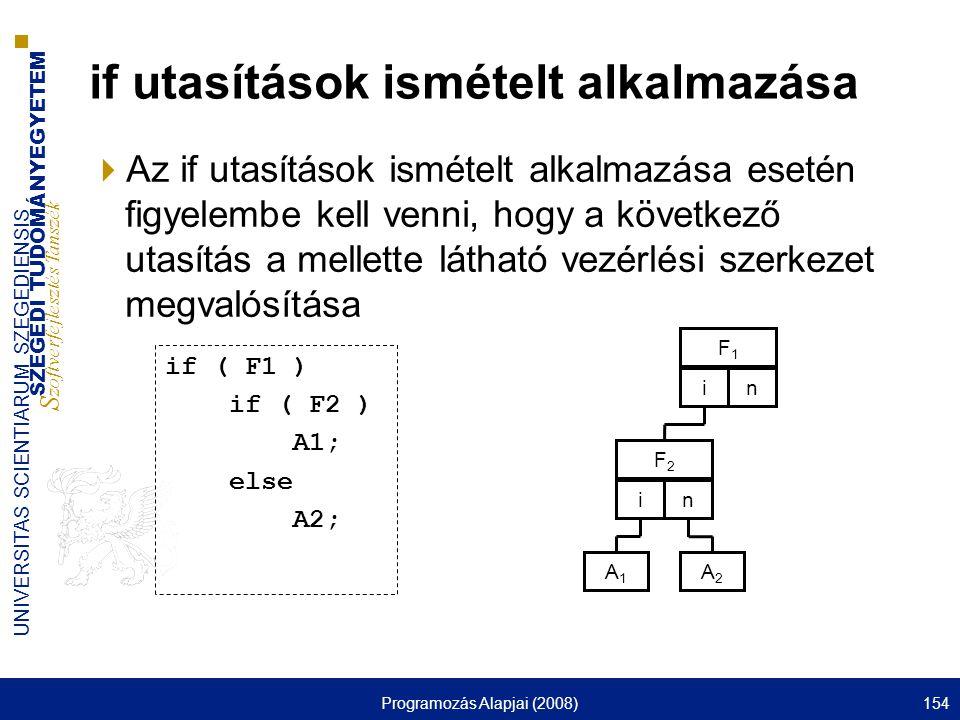 SZEGEDI TUDOMÁNYEGYETEM S zoftverfejlesztés Tanszék UNIVERSITAS SCIENTIARUM SZEGEDIENSIS Programozás Alapjai (2008)154 if utasítások ismételt alkalmazása  Az if utasítások ismételt alkalmazása esetén figyelembe kell venni, hogy a következő utasítás a mellette látható vezérlési szerkezet megvalósítása F1F1 in A1A1 F2F2 in A2A2 if ( F1 ) if ( F2 ) A1; else A2;
