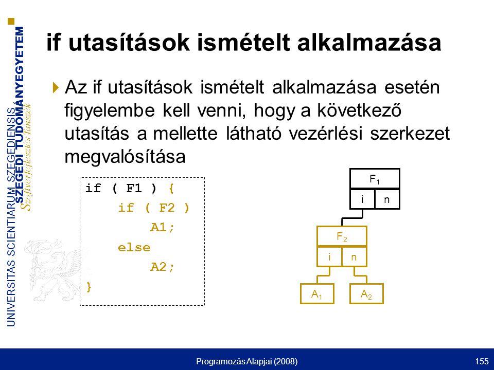SZEGEDI TUDOMÁNYEGYETEM S zoftverfejlesztés Tanszék UNIVERSITAS SCIENTIARUM SZEGEDIENSIS Programozás Alapjai (2008)155 if utasítások ismételt alkalmazása  Az if utasítások ismételt alkalmazása esetén figyelembe kell venni, hogy a következő utasítás a mellette látható vezérlési szerkezet megvalósítása F1F1 in A1A1 F2F2 in A2A2 if ( F1 ) { if ( F2 ) A1; else A2; }