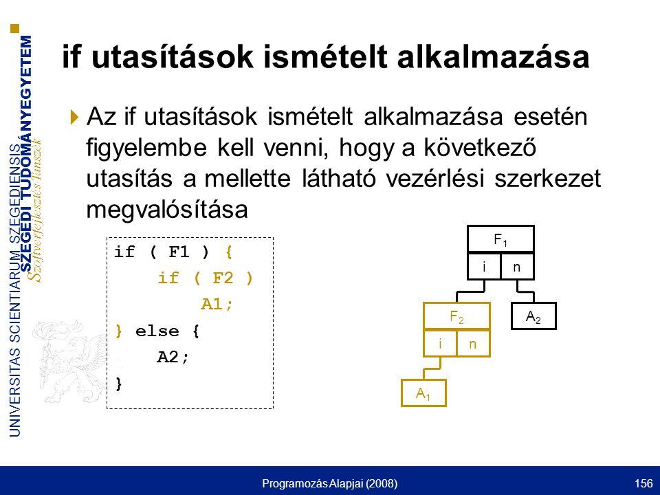 SZEGEDI TUDOMÁNYEGYETEM S zoftverfejlesztés Tanszék UNIVERSITAS SCIENTIARUM SZEGEDIENSIS Programozás Alapjai (2008)156 if utasítások ismételt alkalmazása  Az if utasítások ismételt alkalmazása esetén figyelembe kell venni, hogy a következő utasítás a mellette látható vezérlési szerkezet megvalósítása F1F1 in A1A1 F2F2 in A2A2 if ( F1 ) { if ( F2 ) A1; } else { A2; }