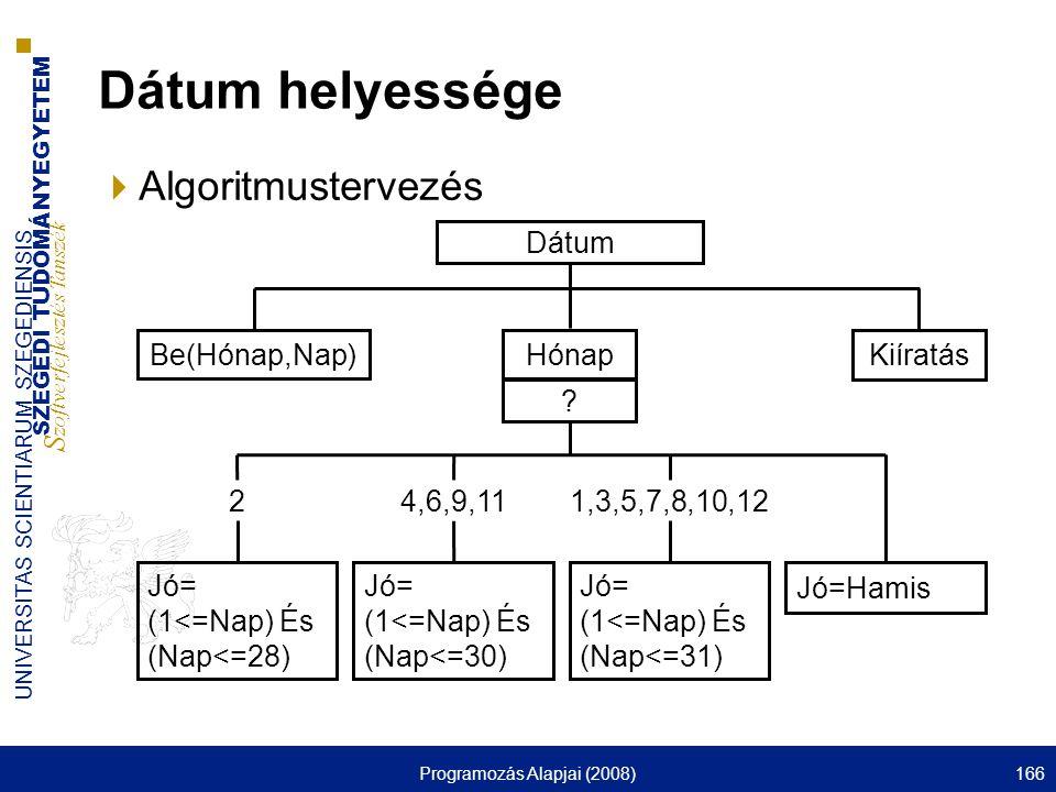 SZEGEDI TUDOMÁNYEGYETEM S zoftverfejlesztés Tanszék UNIVERSITAS SCIENTIARUM SZEGEDIENSIS Programozás Alapjai (2008)166 Dátum helyessége  Algoritmustervezés Dátum Hónap .