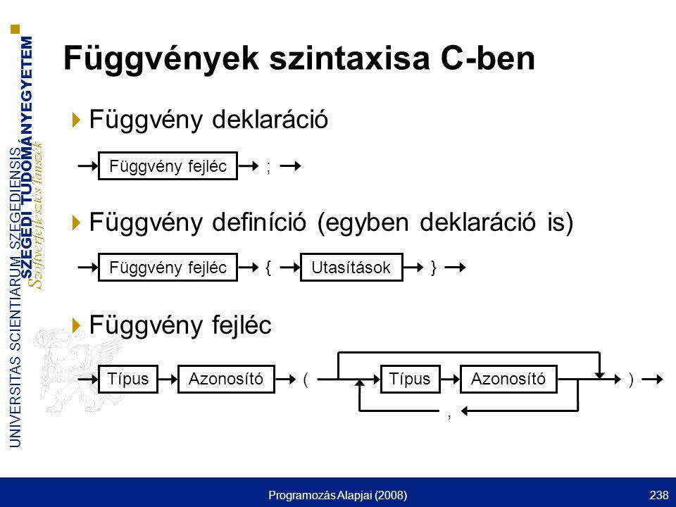 SZEGEDI TUDOMÁNYEGYETEM S zoftverfejlesztés Tanszék UNIVERSITAS SCIENTIARUM SZEGEDIENSIS Programozás Alapjai (2008)238  Függvény deklaráció  Függvény definíció (egyben deklaráció is)  Függvény fejléc Függvények szintaxisa C-ben Függvény fejléc ; Azonosító Típus () Azonosító Típus, Függvény fejléc { Utasítások }