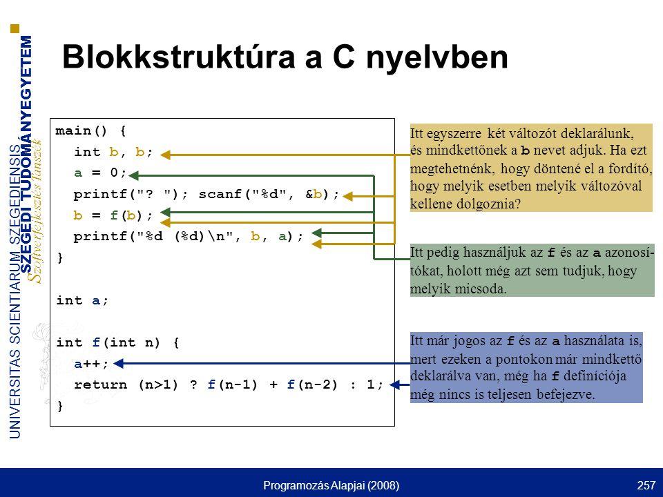 SZEGEDI TUDOMÁNYEGYETEM S zoftverfejlesztés Tanszék UNIVERSITAS SCIENTIARUM SZEGEDIENSIS Programozás Alapjai (2008)257 Blokkstruktúra a C nyelvben main() { int b, b; a = 0; printf( .