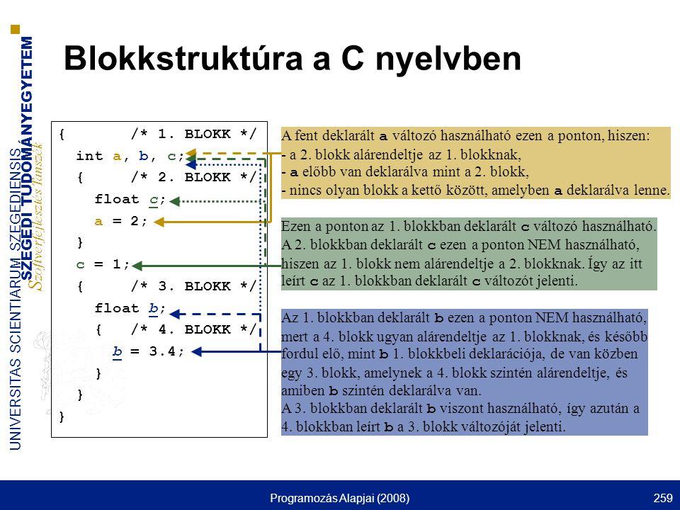 SZEGEDI TUDOMÁNYEGYETEM S zoftverfejlesztés Tanszék UNIVERSITAS SCIENTIARUM SZEGEDIENSIS Programozás Alapjai (2008)259 Blokkstruktúra a C nyelvben { /* 1.