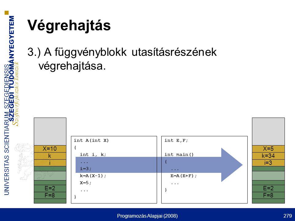 SZEGEDI TUDOMÁNYEGYETEM S zoftverfejlesztés Tanszék UNIVERSITAS SCIENTIARUM SZEGEDIENSIS Programozás Alapjai (2008)279 Végrehajtás 3.) A függvényblokk utasításrészének végrehajtása.