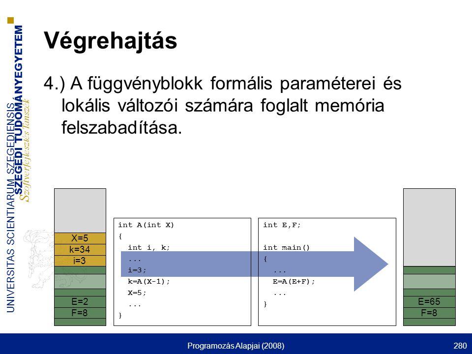 SZEGEDI TUDOMÁNYEGYETEM S zoftverfejlesztés Tanszék UNIVERSITAS SCIENTIARUM SZEGEDIENSIS Programozás Alapjai (2008)280 Végrehajtás 4.) A függvényblokk formális paraméterei és lokális változói számára foglalt memória felszabadítása.