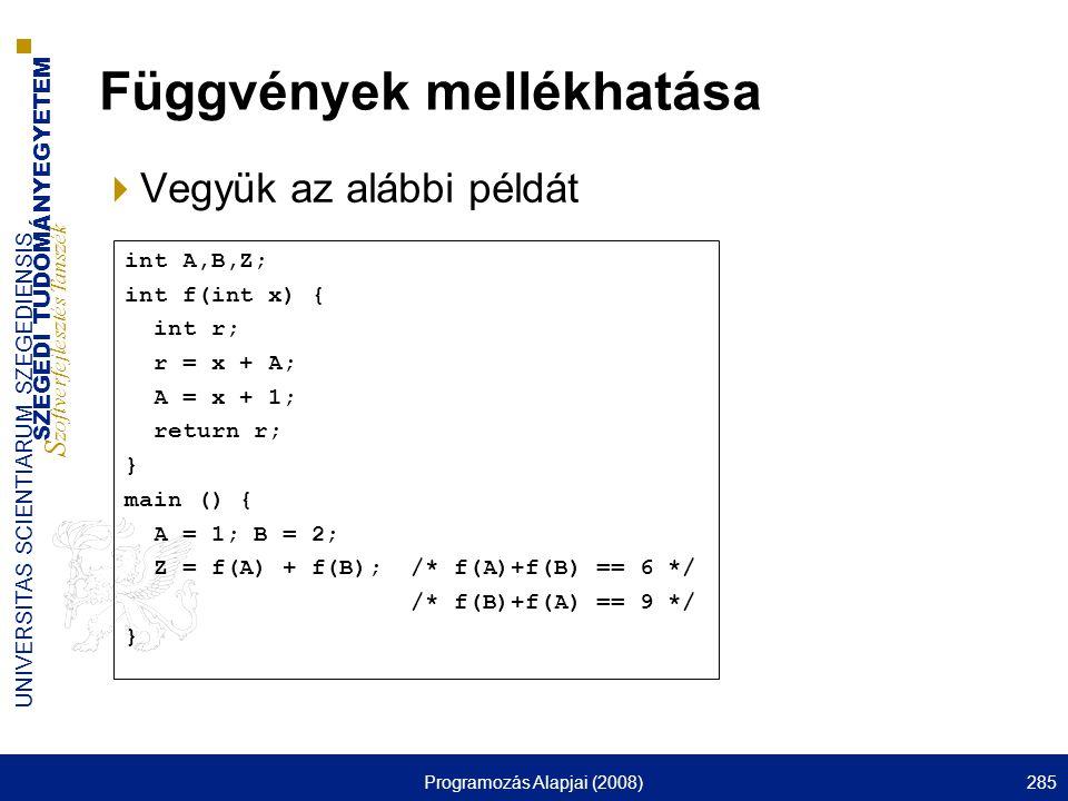 SZEGEDI TUDOMÁNYEGYETEM S zoftverfejlesztés Tanszék UNIVERSITAS SCIENTIARUM SZEGEDIENSIS Programozás Alapjai (2008)285 Függvények mellékhatása  Vegyük az alábbi példát int A,B,Z; int f(int x) { int r; r = x + A; A = x + 1; return r; } main () { A = 1; B = 2; Z = f(A) + f(B); /* f(A)+f(B) == 6 */ /* f(B)+f(A) == 9 */ }
