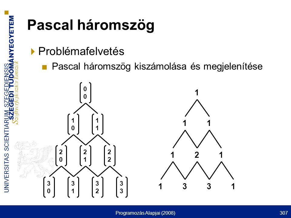 SZEGEDI TUDOMÁNYEGYETEM S zoftverfejlesztés Tanszék UNIVERSITAS SCIENTIARUM SZEGEDIENSIS Programozás Alapjai (2008)307 Pascal háromszög  Problémafelvetés ■Pascal háromszög kiszámolása és megjelenítése 0 10101 2020 21212 3030 3131 32323 1 11 121 1331