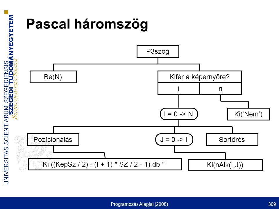SZEGEDI TUDOMÁNYEGYETEM S zoftverfejlesztés Tanszék UNIVERSITAS SCIENTIARUM SZEGEDIENSIS Programozás Alapjai (2008)309 Pascal háromszög P3szog Be(N)Kifér a képernyőre.