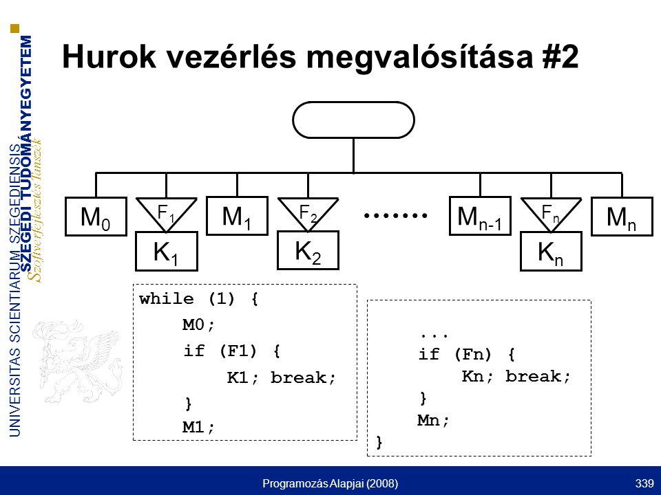 SZEGEDI TUDOMÁNYEGYETEM S zoftverfejlesztés Tanszék UNIVERSITAS SCIENTIARUM SZEGEDIENSIS Programozás Alapjai (2008)339 Hurok vezérlés megvalósítása #2 M0M0 M1M1 MnMn M n-1 K1K1 K2K2 KnKn F1F1 F2F2 FnFn...