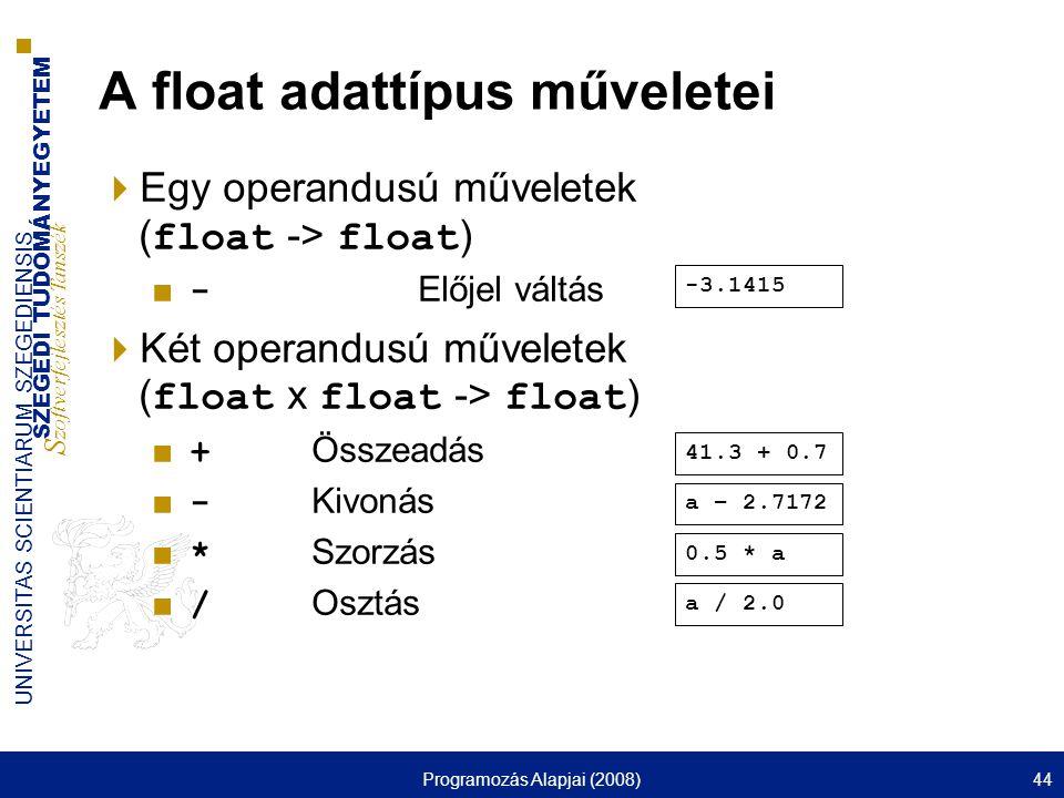 SZEGEDI TUDOMÁNYEGYETEM S zoftverfejlesztés Tanszék UNIVERSITAS SCIENTIARUM SZEGEDIENSIS Programozás Alapjai (2008)44 A float adattípus műveletei  Egy operandusú műveletek ( float -> float ) ■ - Előjel váltás  Két operandusú műveletek ( float x float -> float ) ■ + Összeadás ■ - Kivonás ■ * Szorzás ■ / Osztás a / 2.0 0.5 * a a – 2.7172 41.3 + 0.7 -3.1415