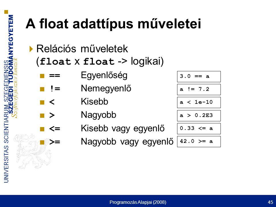 SZEGEDI TUDOMÁNYEGYETEM S zoftverfejlesztés Tanszék UNIVERSITAS SCIENTIARUM SZEGEDIENSIS Programozás Alapjai (2008)45 A float adattípus műveletei  Relációs műveletek ( float x float -> logikai) ■ == Egyenlőség ■ != Nemegyenlő ■ < Kisebb ■ > Nagyobb ■ <= Kisebb vagy egyenlő ■ >= Nagyobb vagy egyenlő 42.0 >= a 0.33 <= a a > 0.2E3 a < 1e-10 a != 7.2 3.0 == a
