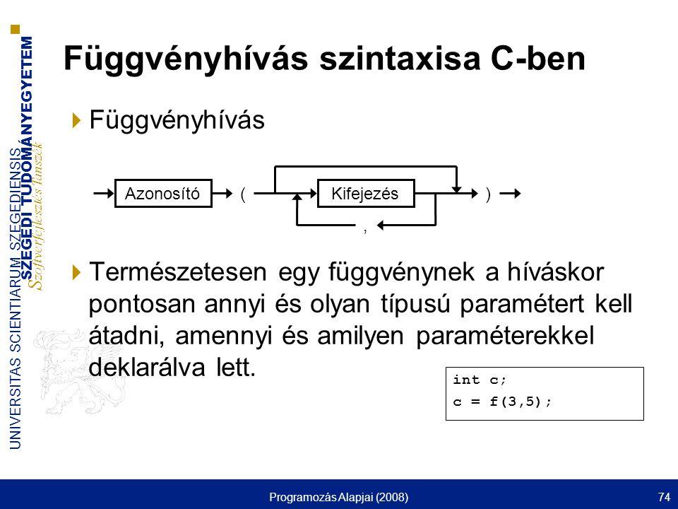 SZEGEDI TUDOMÁNYEGYETEM S zoftverfejlesztés Tanszék UNIVERSITAS SCIENTIARUM SZEGEDIENSIS Programozás Alapjai (2008)74  Függvényhívás  Természetesen egy függvénynek a híváskor pontosan annyi és olyan típusú paramétert kell átadni, amennyi és amilyen paraméterekkel deklarálva lett.