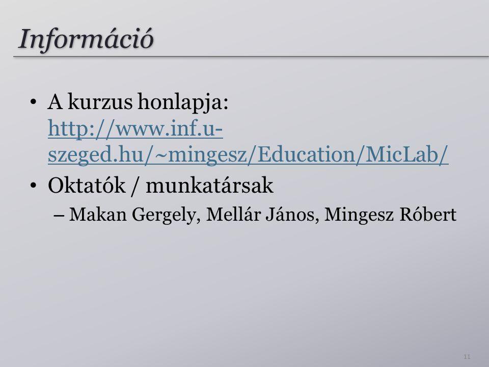 Információ A kurzus honlapja: http://www.inf.u- szeged.hu/~mingesz/Education/MicLab/ http://www.inf.u- szeged.hu/~mingesz/Education/MicLab/ Oktatók /