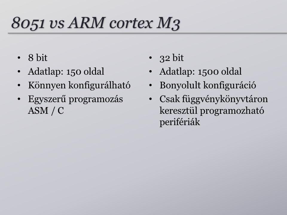 8051 vs ARM cortex M3 8 bit Adatlap: 150 oldal Könnyen konfigurálható Egyszerű programozás ASM / C 32 bit Adatlap: 1500 oldal Bonyolult konfiguráció C
