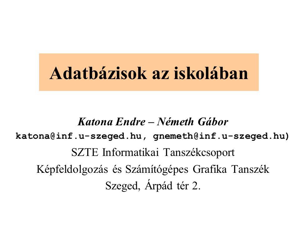 Adatbázisok az iskolában Katona Endre – Németh Gábor katona@inf.u-szeged.hu, gnemeth@inf.u-szeged.hu) SZTE Informatikai Tanszékcsoport Képfeldolgozás