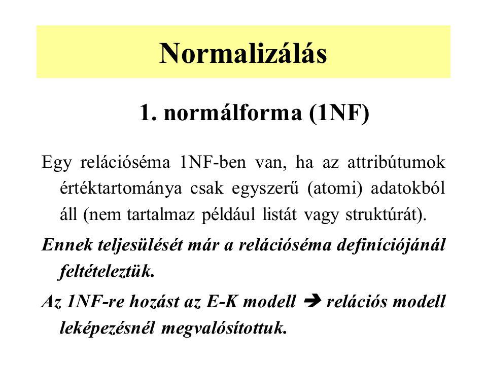 1. normálforma (1NF) Egy relációséma 1NF-ben van, ha az attribútumok értéktartománya csak egyszerű (atomi) adatokból áll (nem tartalmaz például listát