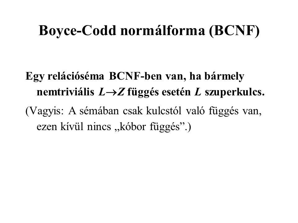 Boyce-Codd normálforma (BCNF) Egy relációséma BCNF-ben van, ha bármely nemtriviális L  Z függés esetén L szuperkulcs. (Vagyis: A sémában csak kulcstó