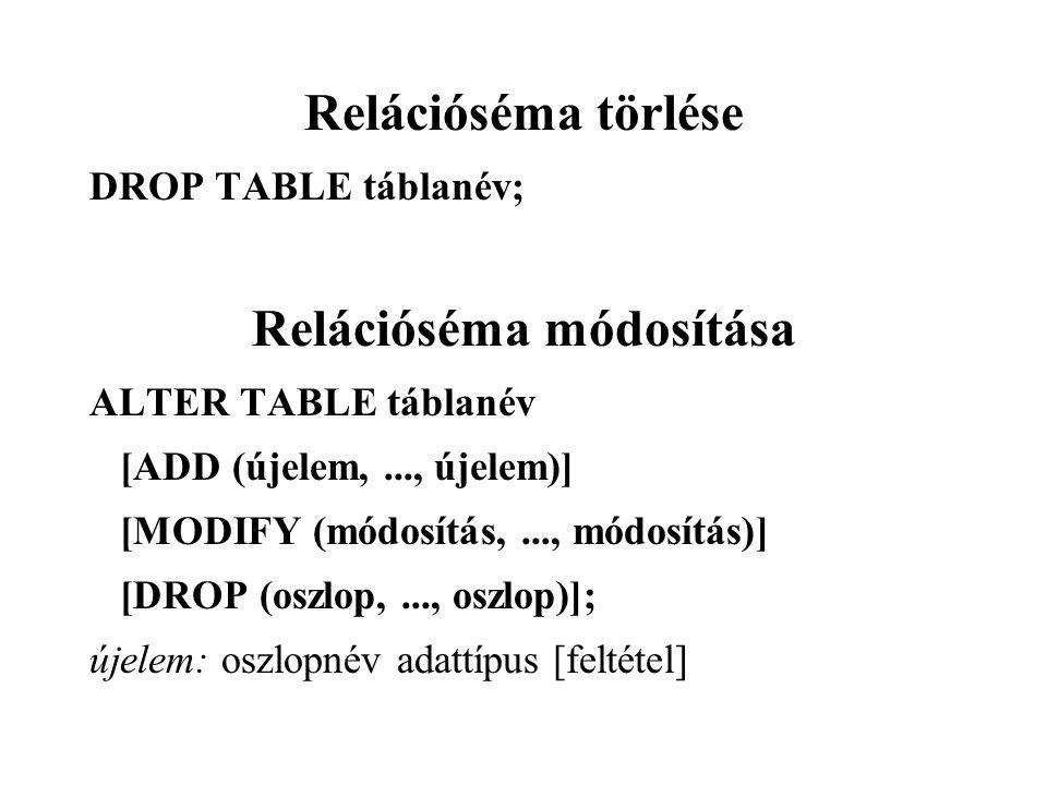 Relációséma törlése DROP TABLE táblanév; Relációséma módosítása ALTER TABLE táblanév [ADD (újelem,..., újelem)] [MODIFY (módosítás,..., módosítás)] [DROP (oszlop,..., oszlop)]; újelem: oszlopnév adattípus [feltétel]