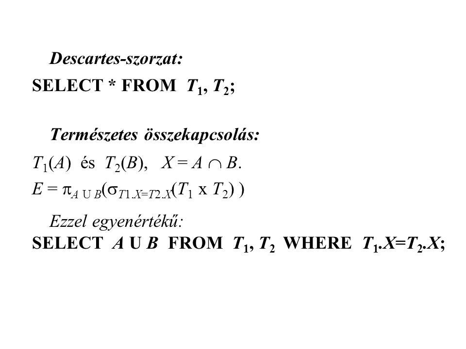 Descartes-szorzat: SELECT * FROM T 1, T 2 ; Természetes összekapcsolás: T 1 (A) és T 2 (B), X = A  B. E =  A U B (  T1.X=T2.X (T 1 x T 2 ) ) Ezzel