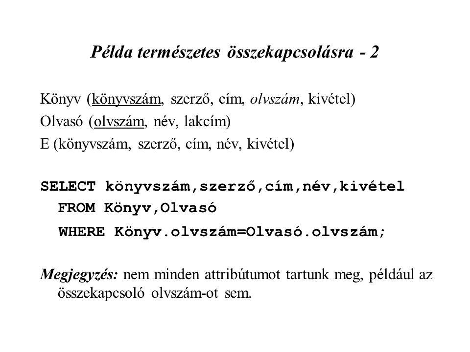 Példa természetes összekapcsolásra - 2 Könyv (könyvszám, szerző, cím, olvszám, kivétel) Olvasó (olvszám, név, lakcím) E (könyvszám, szerző, cím, név,