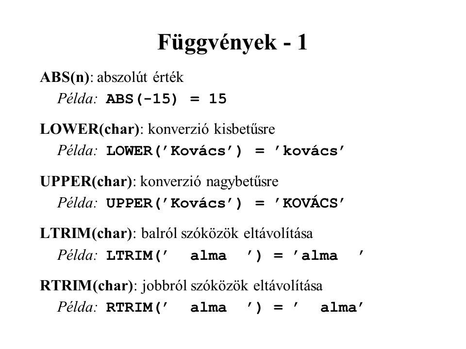 Függvények - 1 ABS(n): abszolút érték Példa: ABS(-15) = 15 LOWER(char): konverzió kisbetűsre Példa: LOWER('Kovács') = 'kovács' UPPER(char): konverzió nagybetűsre Példa: UPPER('Kovács') = 'KOVÁCS' LTRIM(char): balról szóközök eltávolítása Példa: LTRIM(' alma ') = 'alma ' RTRIM(char): jobbról szóközök eltávolítása Példa: RTRIM(' alma ') = ' alma'