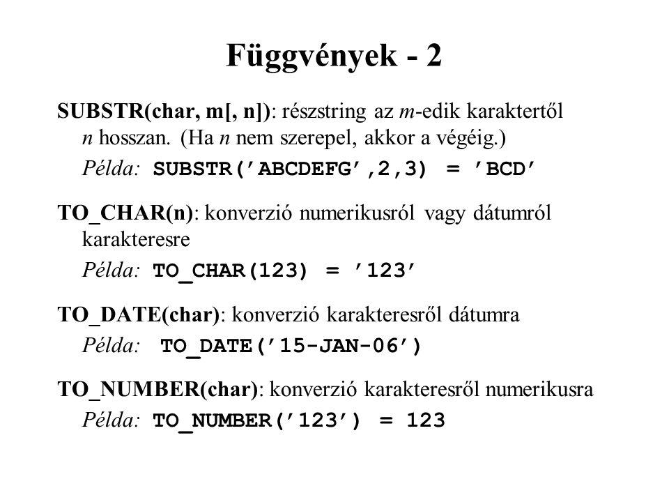 Függvények - 2 SUBSTR(char, m[, n]): részstring az m-edik karaktertől n hosszan. (Ha n nem szerepel, akkor a végéig.) Példa: SUBSTR('ABCDEFG',2,3) = '