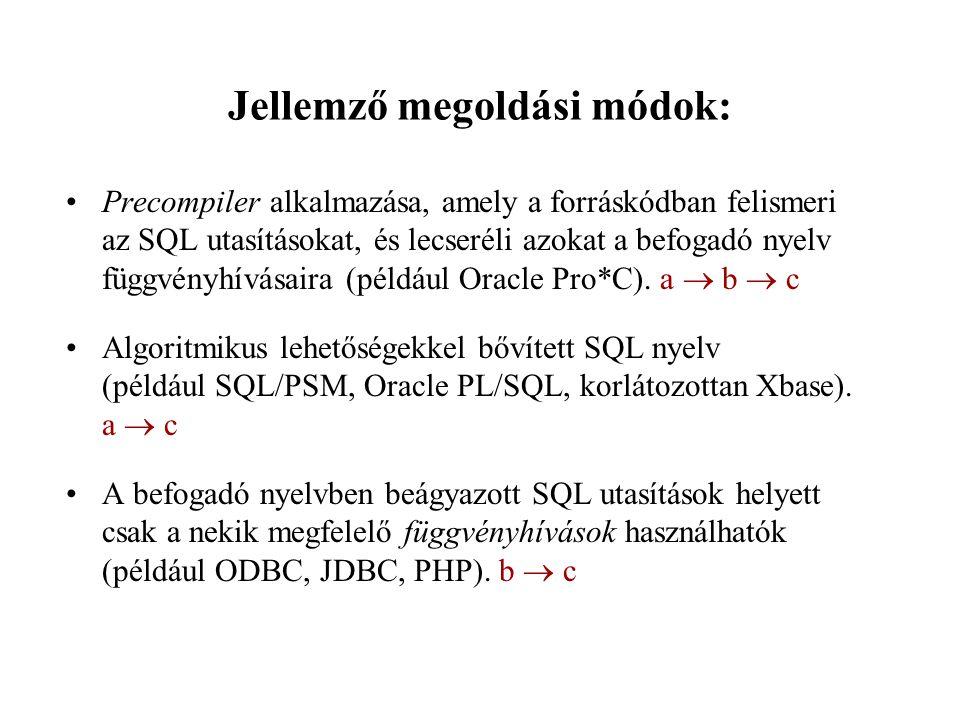 Jellemző megoldási módok: Precompiler alkalmazása, amely a forráskódban felismeri az SQL utasításokat, és lecseréli azokat a befogadó nyelv függvényhí