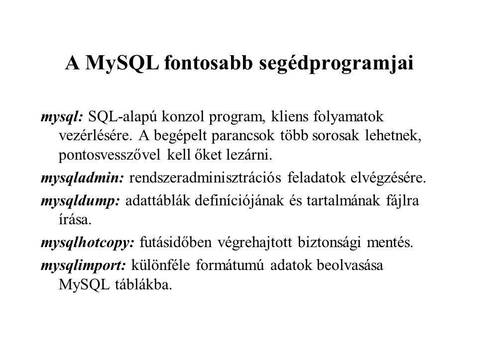 A MySQL fontosabb segédprogramjai mysql: SQL-alapú konzol program, kliens folyamatok vezérlésére. A begépelt parancsok több sorosak lehetnek, pontosve