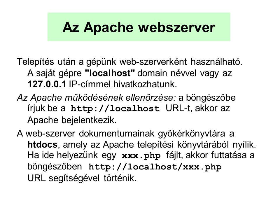 Az Apache webszerver Telepítés után a gépünk web-szerverként használható. A saját gépre